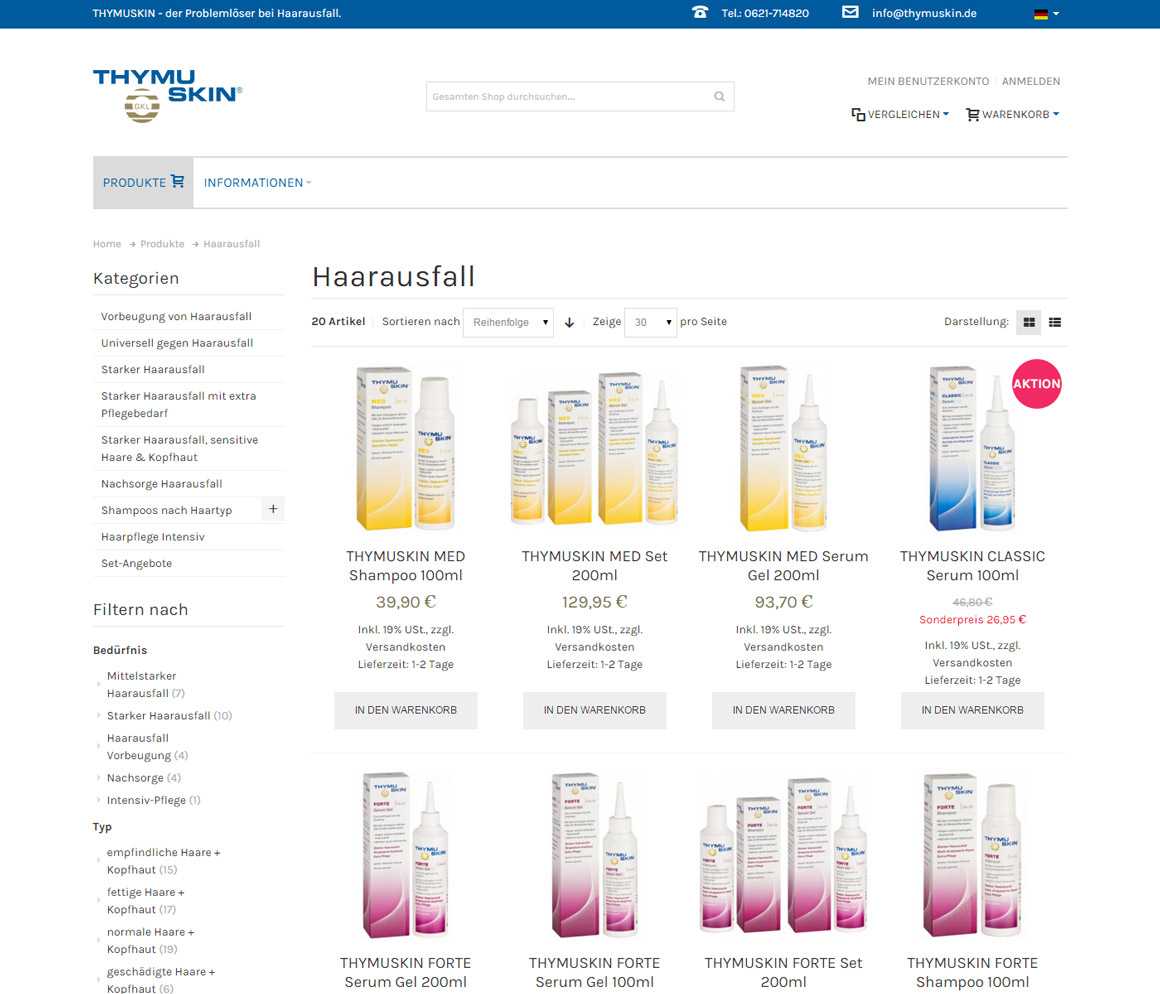 thymuskin.de Produktliste