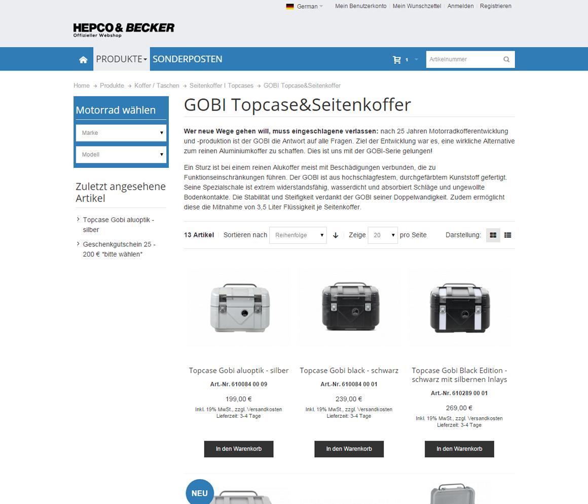 Hepco&Becker Produktliste