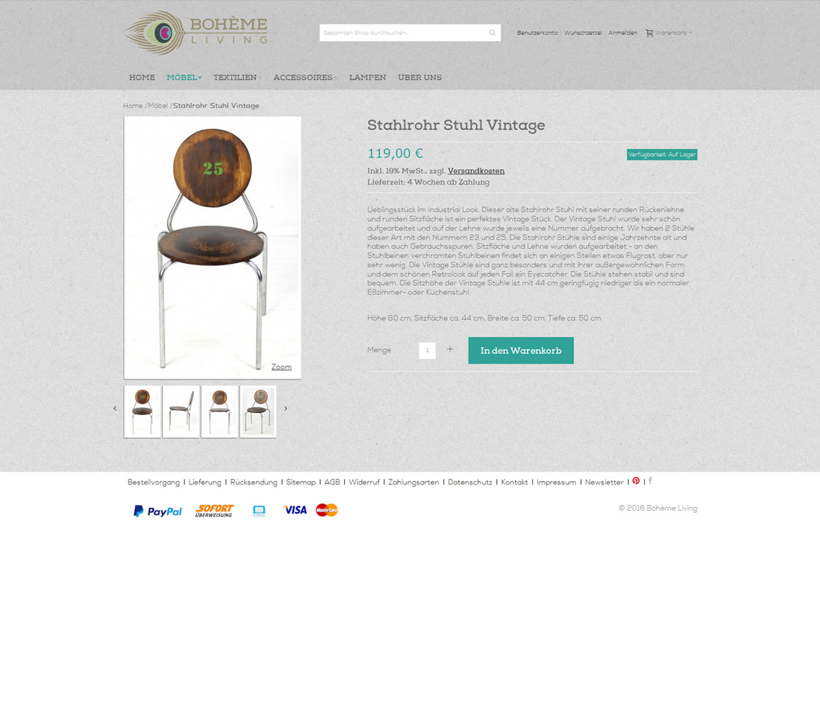 boheme-living.com Produktdetail