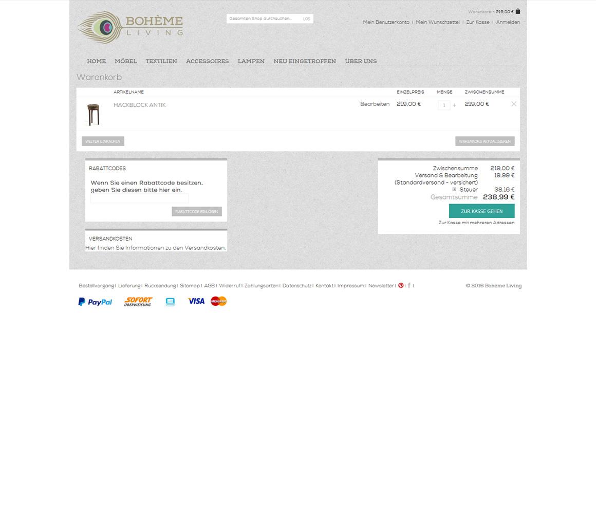 boheme-living.com Warenkorb vorheriger Zustand