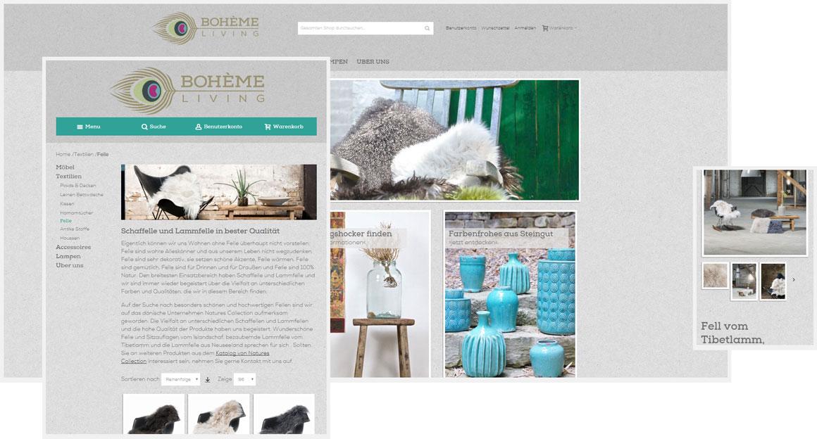 Bohème Living - Magento responsive Webdesign