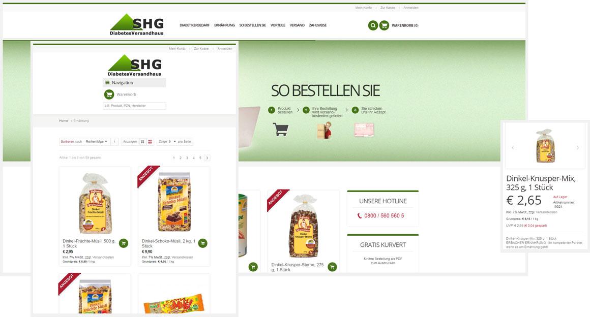 Diabetes Versandhaus - Magento responsive Webdesign