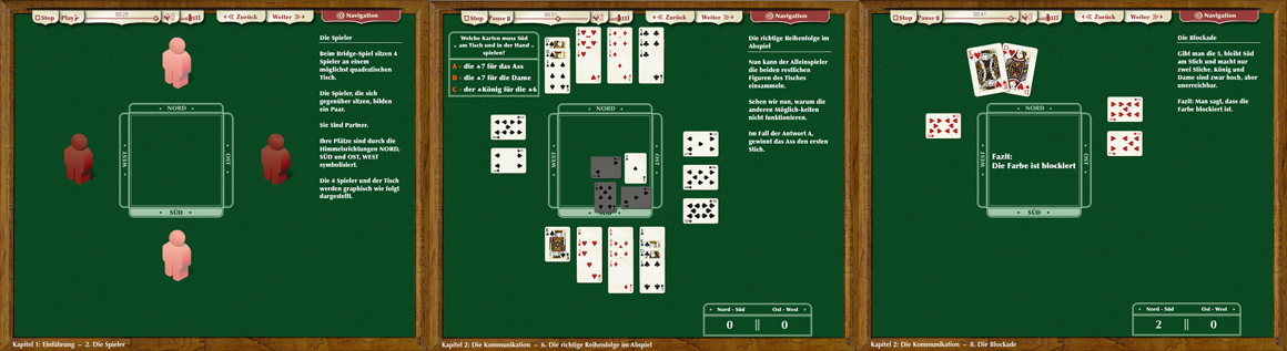 Interaktiver Lernfilm zum Erlernen des Kartenspiel Bridge