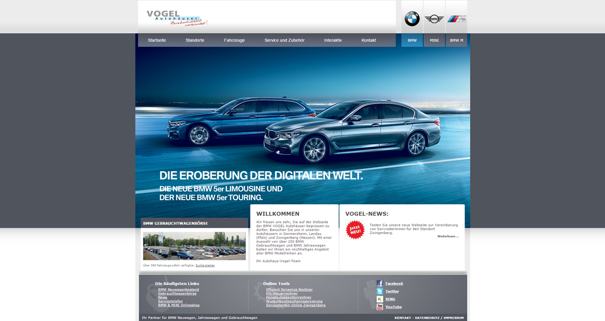 webdesign f r bmw vogel autoh user brainstation. Black Bedroom Furniture Sets. Home Design Ideas