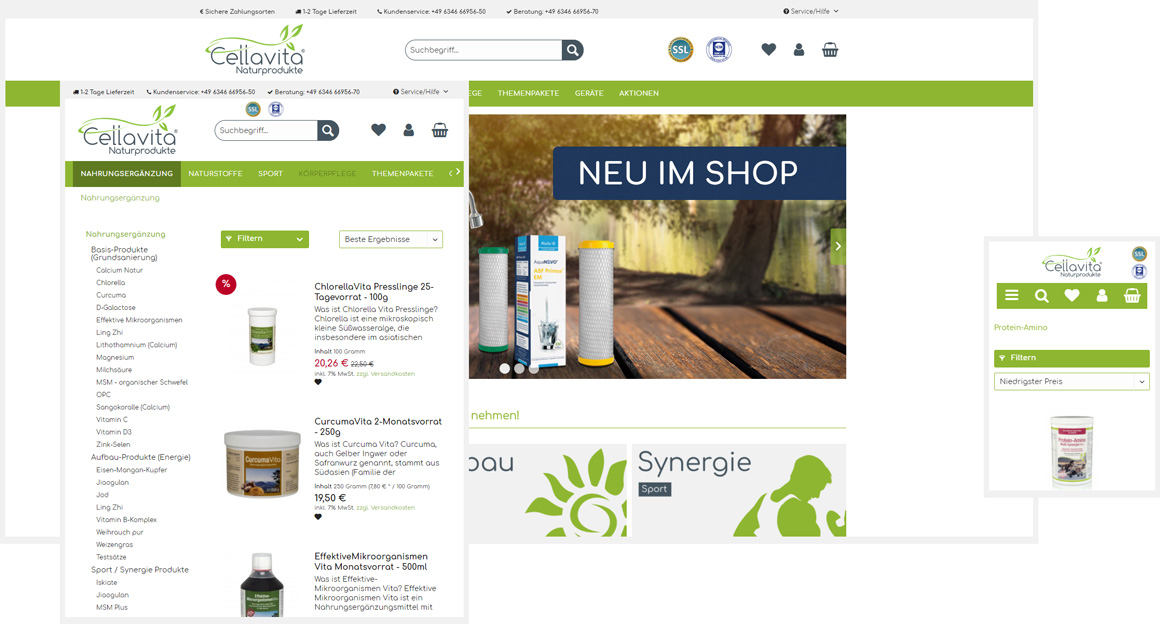 Cellavita - Naturprodukte responsive Shopware Onlineshop
