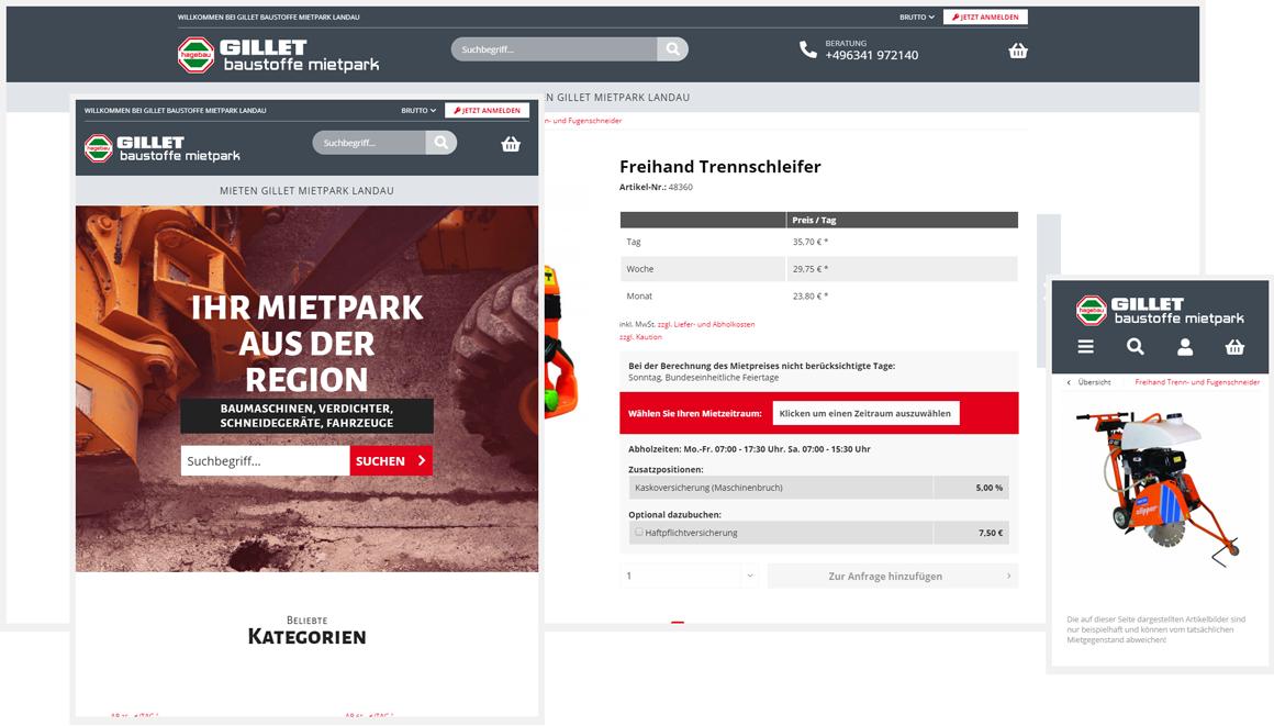 Gillet Baustoffe Mietpark responsive Shopware Onlineshop
